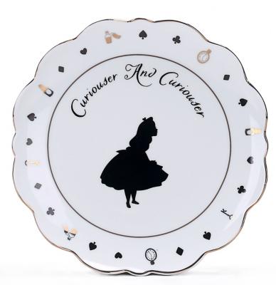 White Alice in Wonderland Curiouser Slogan Side Plate