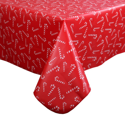 Red Candy Cane Wipe Clean Tablecloth
