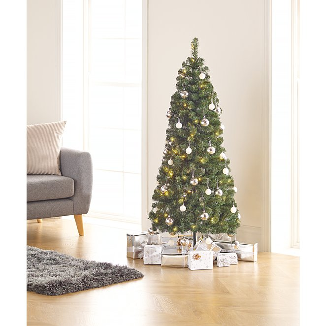 Pop Up Christmas Tree.5ft Pop Up Pre Lit Led Christmas Tree Silver And White Baubles