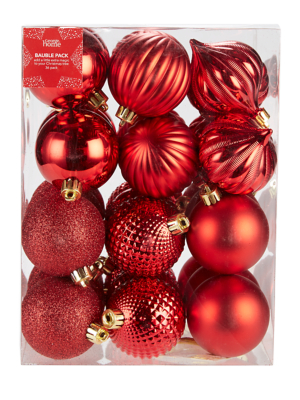 Red Mixed Christmas Tree Baubles 36 Pack