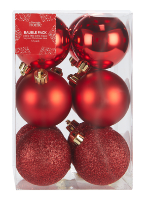 Red Mixed Christmas Tree Baubles 12 Pack