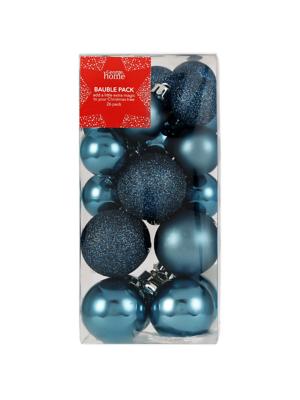 Blue Mixed Christmas Tree Mini Baubles 26 Pack
