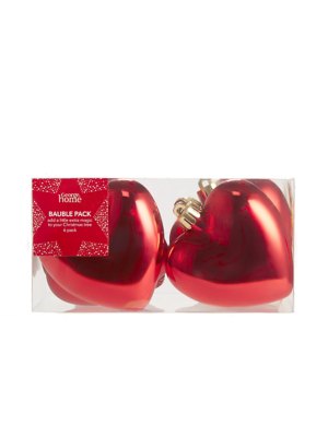 Red Heart Shaped Christmas Tree Baubles 6 Pack