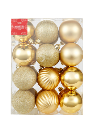 Gold Mixed Christmas Tree Baubles 36 Pack
