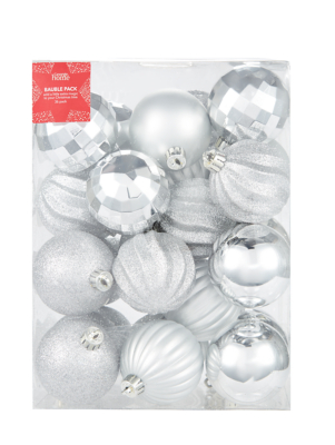 Silver Mixed Christmas Tree Baubles 36 Pack