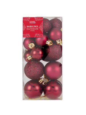 Persian Red Mixed Christmas Tree Mini Baubles 26 Pack