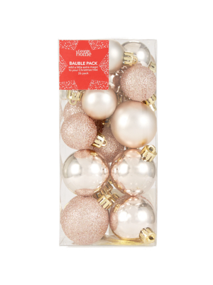 Rose Gold Mixed Christmas Tree Mini Baubles 26 Pack