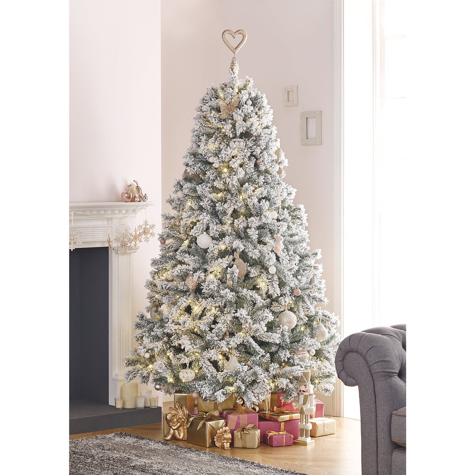 detailed look fa688 3fcc3 7ft Snowy Pre-Lit Christmas Tree