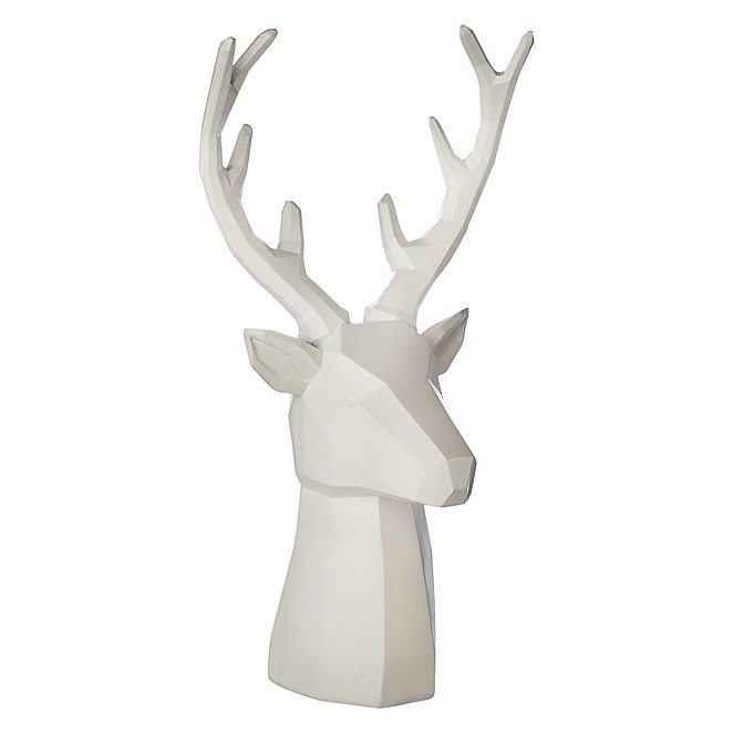 White Origami Stag Head Ornament Home