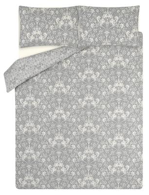 Grey Nouveaux Floral Easy Care Reversible Duvet Set