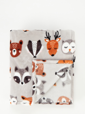 Grey Autumn Animals Super Soft Throw