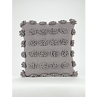 Grey Woven Loop Cushion by Asda