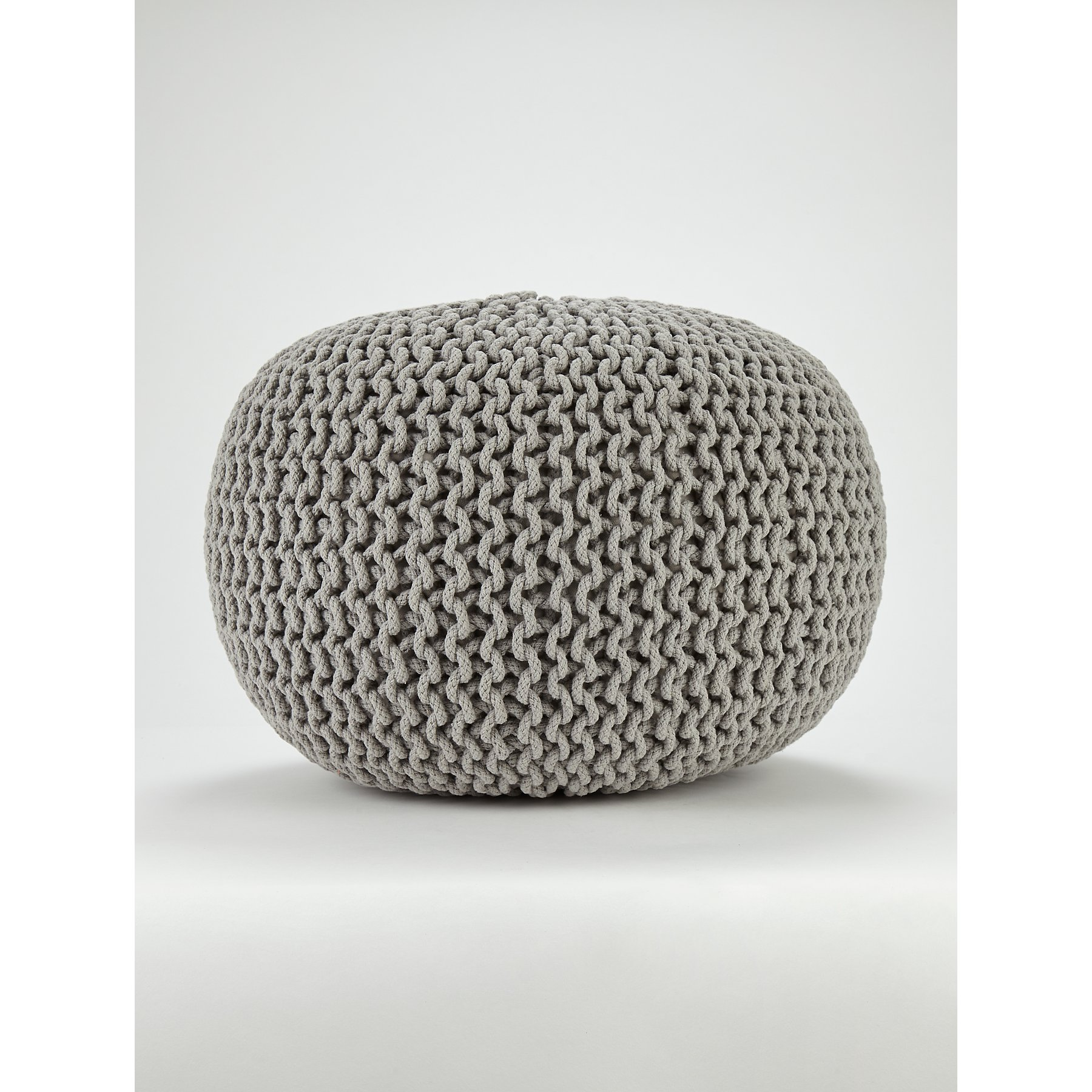Admirable Light Grey Knitted Pouffe Ibusinesslaw Wood Chair Design Ideas Ibusinesslaworg