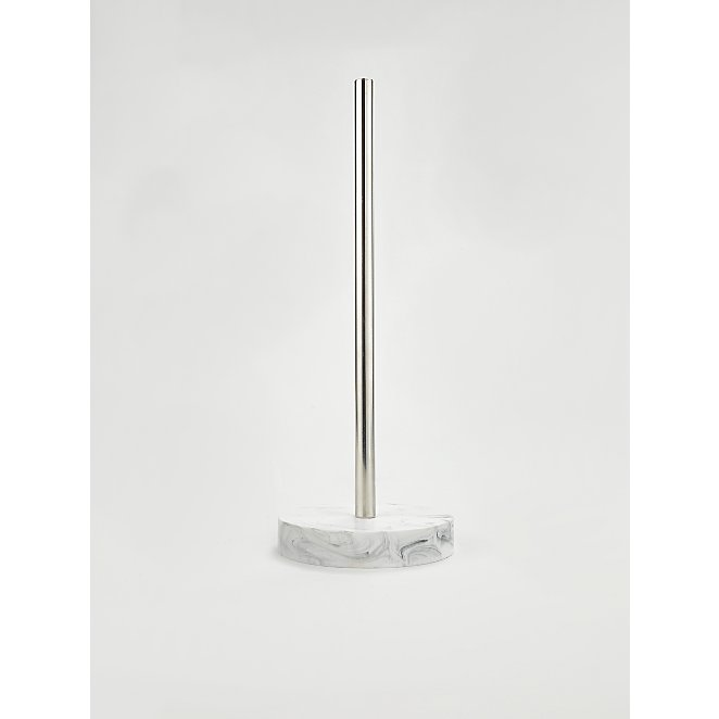 White Marble Effect Toilet Roll Stand Home George
