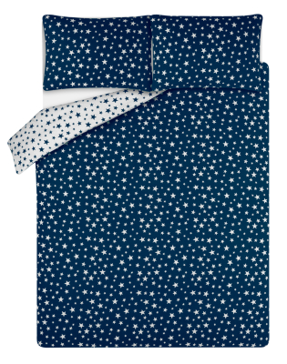 Navy Star Print Soft & Cosy Brushed Cotton Duvet Set