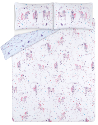 White Unicorn Star Print Easy Care Duvet Set
