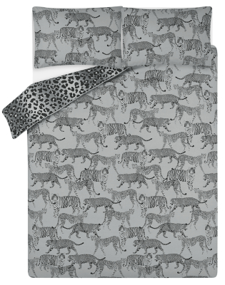 Grey Wild Big Cats Easy Care Duvet Set