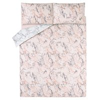 Pink And Grey Marble Effect Easy Care Duvet Set by Asda