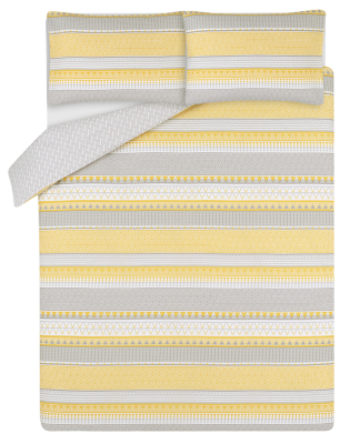 Yellow and Grey Geometric Striped Easy Care Duvet Set