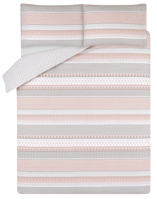 Pink and Grey Geometric Striped Easy Care Duvet Set