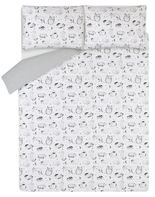 White Sleepy Cats Easy Care Duvet Set