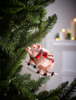 Pink Skiing Pig Christmas Bauble