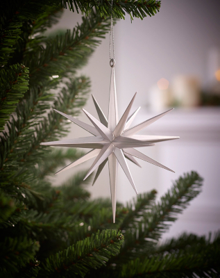 Silver Starburst Christmas Tree Bauble