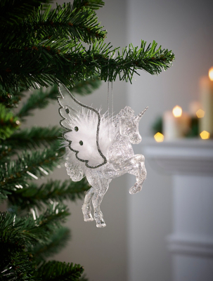 Silver Flying Unicorn Christmas Tree Bauble