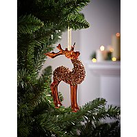 Brown Iridescent Reindeer Christmas Tree Bauble by Asda