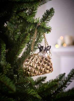 Dog in Gold Handbag Christmas Tree Bauble