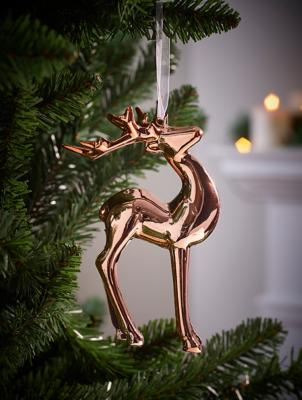 Rose Gold Reindeer Christmas Tree Bauble