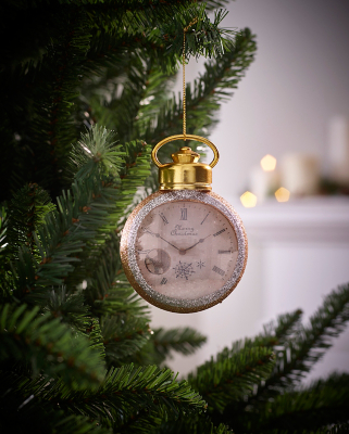 Gold Glitter Pocket Watch Christmas Tree Bauble