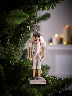 Silver Nutcracker Christmas Tree Bauble
