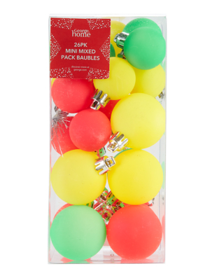 Mixed Colour Christmas Tree Mini Baubles 26 Pack
