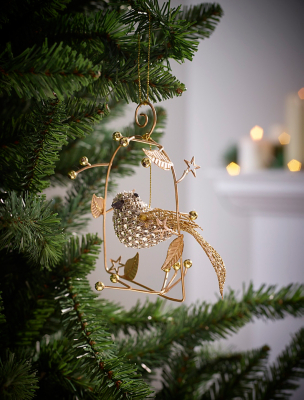 Gold Bird Nest Christmas Tree Bauble