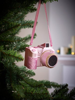 Pink Camera Christmas Tree Bauble