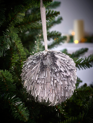 Large Silver Beaded Ball Christmas Tree Bauble