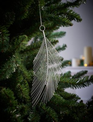 Silver Leaf Shaped Christmas Tree Bauble
