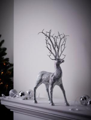 Silver Glitter Reindeer Christmas Ornament