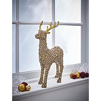 Gold Beaded Reindeer Christmas Ornament by Asda