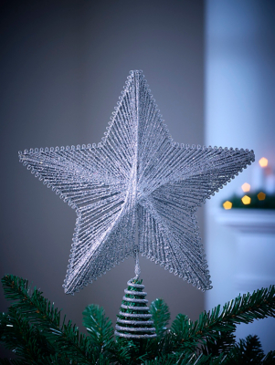 Silver Glitter Star Christmas Tree Topper