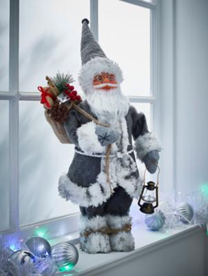 Grey Santa Christmas Ornament