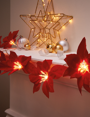 Red Poinsettia Christmas String Lights 10 Pack