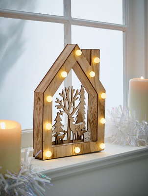 Wooden Deer and Tree Scene House Shaped Light