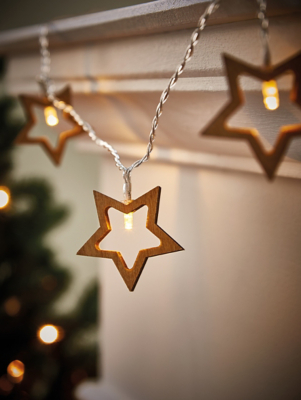 Wooden Star Christmas String Lights Pack of 10
