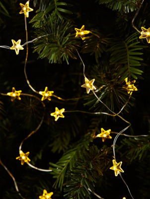 50 Warm White LED Star Copper Wire String Lights