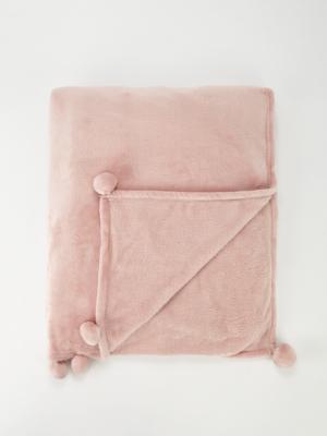 Pink Pom Pom Soft Plush Blanket