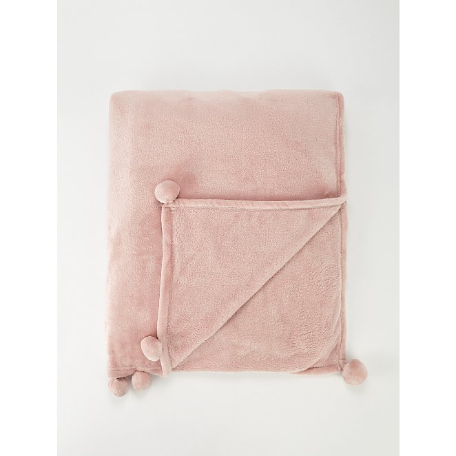 Pink Pom Pom Soft Plush Extra Large Blanket