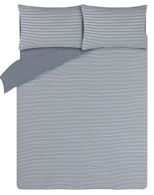 Navy Striped Jersey Bedding Set with Fitted Sheet