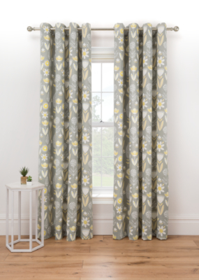 Grey Floral Print Lined Eyelet Curtains